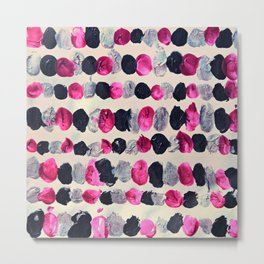 Beads of Black, Pink & Silver - abstract painting Metal Print