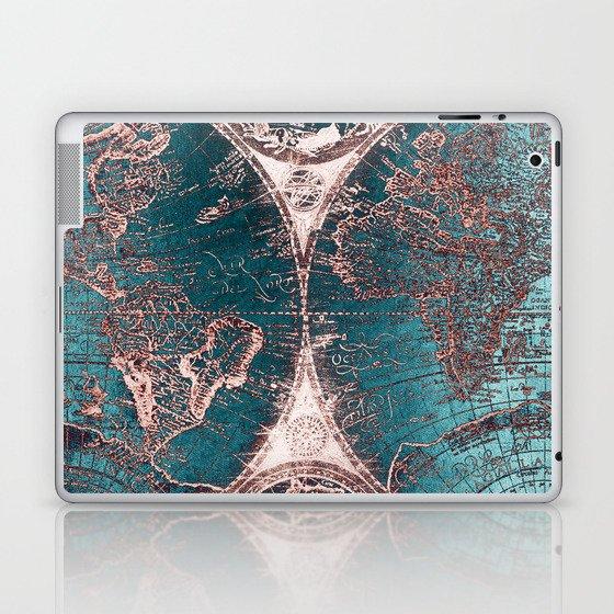 Antique World Map Pink Quartz Teal Blue by Nature Magick Laptop & iPad Skin