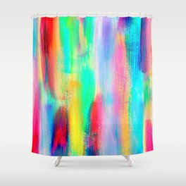 BE POSITIVE #2 Colorful Abstract Painting Lines Pattern Fluorescent Modern brushstrokes Shower Curtain