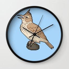 Pixel / 8-bit Crested Lark Wall Clock