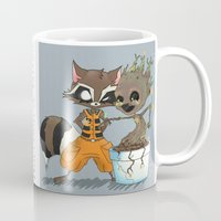 rocket raccoon Mugs featuring Rocket Raccoon & Baby Groot by Whimsette