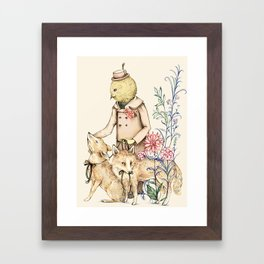 Canary and foxes Framed Art Print