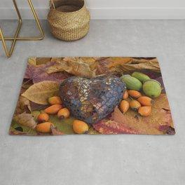 Autumn Still Life With Glass Heart Rug