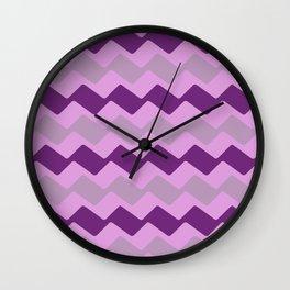 Purple Zig Zag Pattern Wall Clock