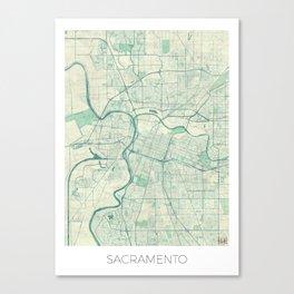 Sacramento Map Blue Vintage Canvas Print
