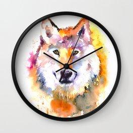 Fox Watercolour Art Wall Clock