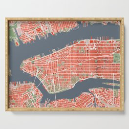 New York city map classic Serving Tray