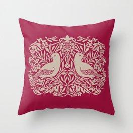 William Morris Style Victorian Birds Throw Pillow