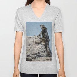 Lizard Sunbathing On A Rock Vector Unisex V-Neck