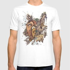 panic color  MEDIUM Mens Fitted Tee White