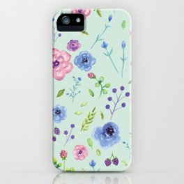 Watercolor flowers on mint iPhone Case