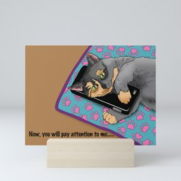 Cell Phone Cat Mini Art Print