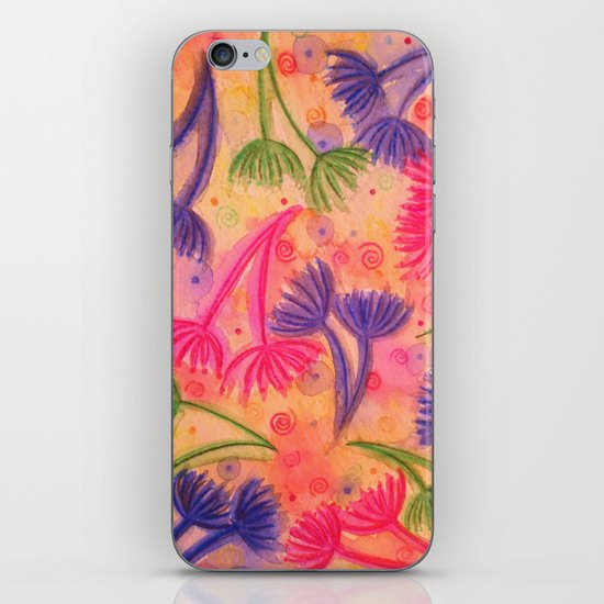 COW PARSLEY 3 - Happy Neon Pink Cherry Acid Green Nature Floral Abstract Watercolor Painting Pattern iPhone & iPod Skin