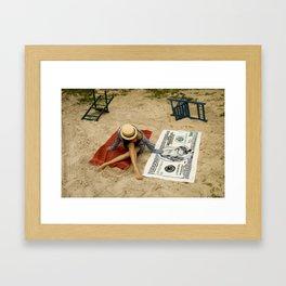 STEF RED TOWEL BJ FRANKLIN  Framed Art Print