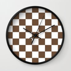 Checker (Coffee/White) Wall Clock