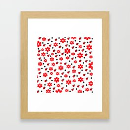 Ladybugs and Daisies Framed Art Print