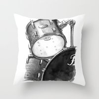 drums Throw Pillows featuring Drums by Ashley Silvernell Quick