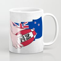 new zealand Mugs featuring Rugby Ball New Zealand by mailboxdisco