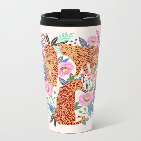 The Leopards, leopard print, animal print, flower print Metal Travel Mug