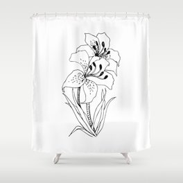 Lillies - Ink Serie Shower Curtain