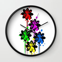 Multi coloured flower bouquet Wall Clock