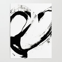 Brushstroke 6: a minimal, abstract, black and white piece Poster