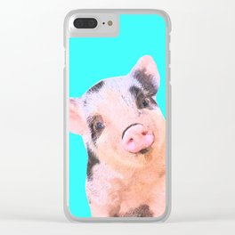 Baby Pig Turquoise Background Clear iPhone Case