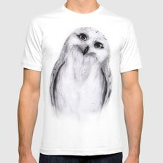 Snowy Owl Sketch White Mens Fitted Tee MEDIUM