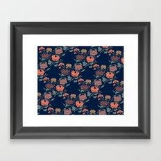 Floral grid pattern Framed Art Print