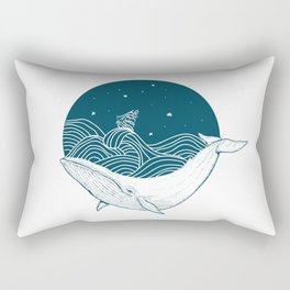 Minimalist Sperm Whale Art - Geometric Ocean Artwork - Boat Rectangular Pillow