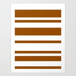 Mixed Horizontal Stripes - White and Brown Art Print