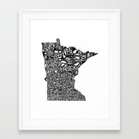 minnesota Framed Art Prints featuring Typographic Minnesota by CAPow!