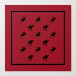 Bull Moose Silhouette - Black on Red Canvas Print