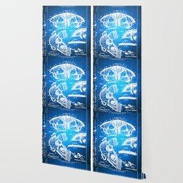 Football Shoulder Pads Paten Blueprint Drawing Blue Wallpaper