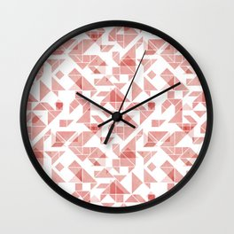 Peach pink tangram triangle pattern Wall Clock