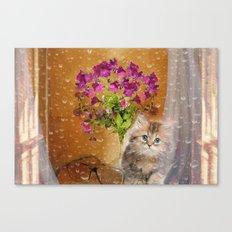 RAINY DAY KITTEN Canvas Print