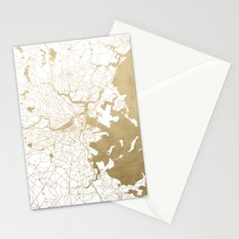 Boston White and Gold Map Stationery Cards