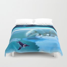 The Encounter - A Polar Bear & Penguin Fantasy Duvet Cover