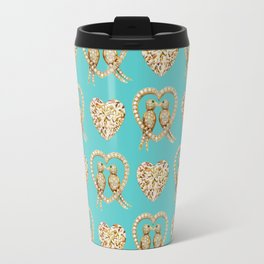 Tiffany Blue Valentines Love Hearts , love, birds Travel Mug