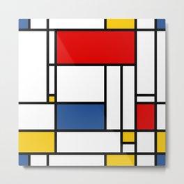 Mondrian color pattern Geometric Red Yellow Blue Metal Print