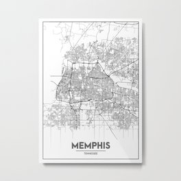 Minimal City Maps - Map Of Memphis, Tennessee. Metal Print