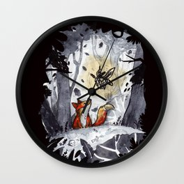 Fox and the Moth Wall Clock
