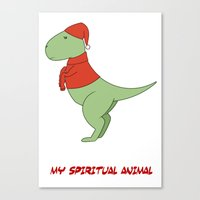 trex Canvas Prints featuring trex dinosaur funny arms by captainkittyspa