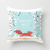 adventure Throw Pillows featuring Adventure Awaits by Freeminds