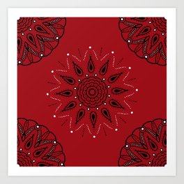 Central Mandala Red Art Print