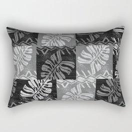 Polynesian Tropical Leaves Black And White Pattern Rectangular Pillow