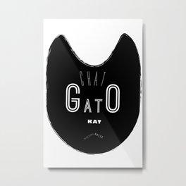 Mod Typographic Cat Wall Art Print Bold Black & White Mid Century Modern Inspiration Metal Print
