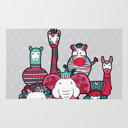 Doodle Animal Friends Pink & Grey Rug
