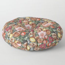 Botanical and Pugs Floor Pillow