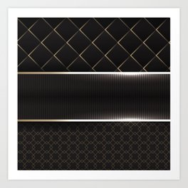 black minimal pattern Art Print